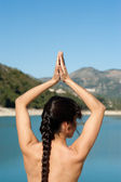 Early morning yoga — Stock Photo