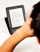 Student using an e-book — Stock Photo