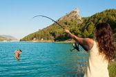 Fishing a boot — Stock Photo