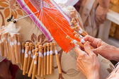 Bobbin lace-making — Stock Photo