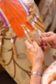 Bobbin lace making — Stock Photo