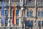 Munich City Hall with Flags — Stock Photo