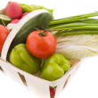 Wattled basket with vegetable — Stock Photo