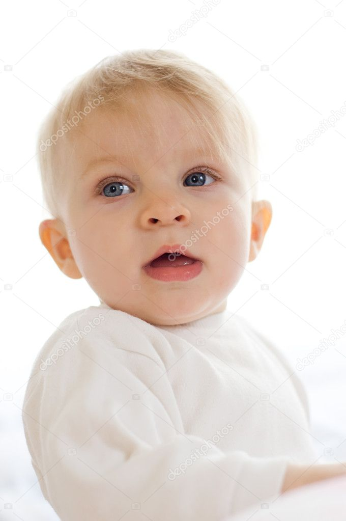 One year baby girl portrait over white — Stock Photo #5602839