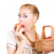 Biting apple — Foto de Stock