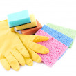 Sponges and gloves — Stock Photo