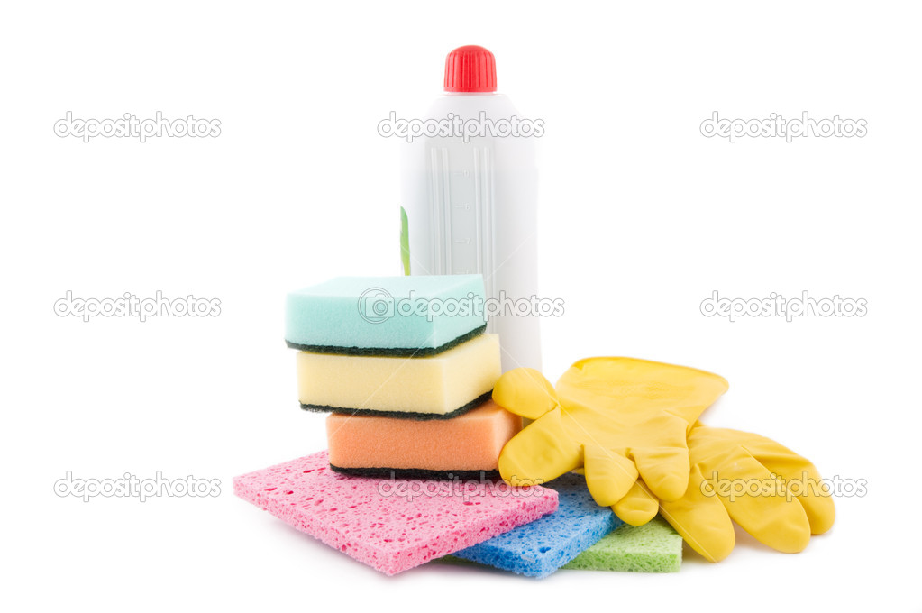 Cleaning and sanitation products isolated over white — Stock Photo #5883131