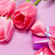 Tulips and gift box - Stock Photo