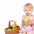 Girl with basket and apples — Photo