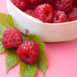 Raspberries in wooden basket — Foto Stock