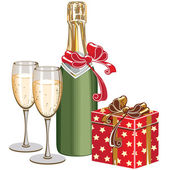 Champagne and box — Stock Vector