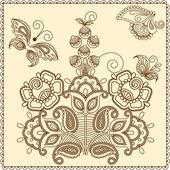 一時的な刺青の花 4barevné motýly vzor — ストックベクタ