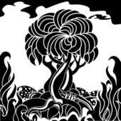 Ensamt träd. — Stockvektor