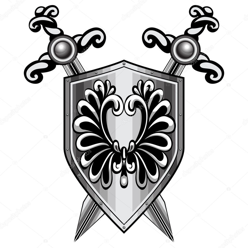 Shield, heraldry. The two crossed swords. Red background. — Stock Vector #6599515