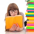 Young girl with glasses reading — Stock Photo #5450711