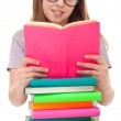 Girl with books reading — Stock Photo #5450764
