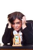 Worried businesswoman, time is running — Stock Photo