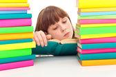 školačka čtení — Stock fotografie