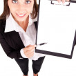 Businesswoman showing blank paper — Foto Stock