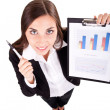 Businesswoman show charts — Stock Photo