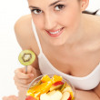 Woman eating trusty salad — Stockfoto
