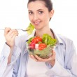 Woman with vegetables salad — Photo #5517503