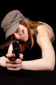 Woman solder with gun — Stock Photo