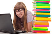 Girl learning for exam — Stockfoto