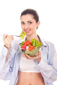 Woman with vegetables salad — Stock Photo
