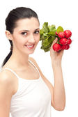 Woman with fresh vegetables — Stock Photo