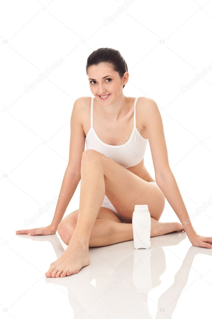 Woman depilating her legs, close up, isolated on white  Stock Photo #5517447