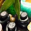 Massage stones and aloe vera — Stock Photo