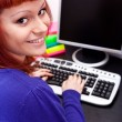 Stock Photo: Young womwith computer