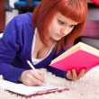 Stock Photo: Concentrating student learning