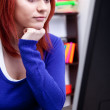 Teenager girl with computer — Stock Photo