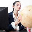 Successes businesswoman with globe — Stock Photo #5614306
