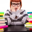 Girl in glasses with stack book — Stock Photo #5614641