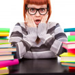 Girl in glasses with stack book - Photo