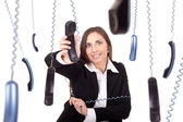 Busy and clumsy secretary — Stock Photo