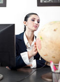 Successes businesswoman with globe — Stock Photo