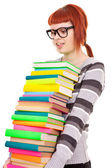 Girl with lot of books — Stock Photo