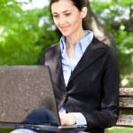 Overworked businesswoman working on break — Stock Photo