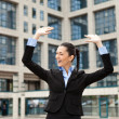 Stock Photo: Businessmwith arms outstretched