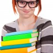 Fun schoolgirl with stack books — Stock Photo #5666968