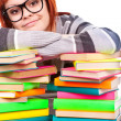 Girl with pile book — Stock Photo