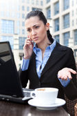 Irritation businesswoman — Stock Photo
