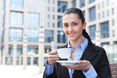 Businesswoman on coffee break — Stock Photo