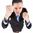 Funny fighting business woman — Stock Photo
