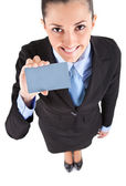 Businesswoman shoving business card — Stock Photo