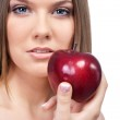 Woman with red apple — Stock Photo #5937586